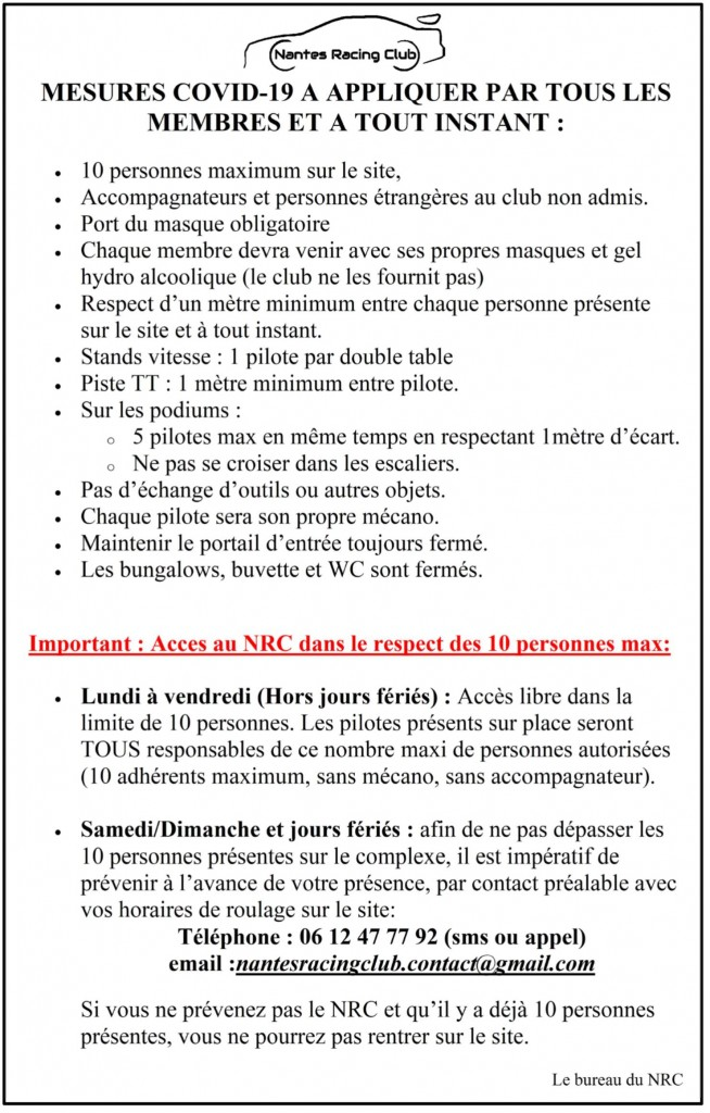 NRC consignes COVID